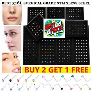 Nose Studs Set Straight Screw I L Shape Silver Ball Surgical Steel Gold Piercing