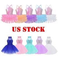 US Sequins Girls Kids Ballet Dance Leotard Dress Ballerina Tutu Skirt Dancewear