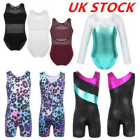 UK Kid Girls Ballet Gym Leotard Matallic Shiny Dancewear Sports Bodysuit Unitard
