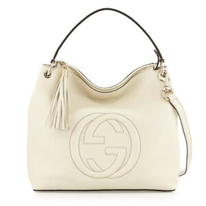 Gucci Soho Large Leather Hobo Bag in Mystic White MSRP $1485