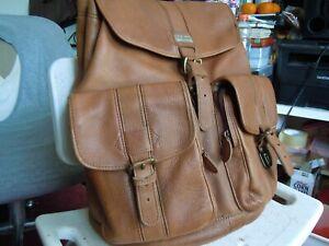 NEW Vtg LL.BEAN USA   Leather Drawstring Bucket Backpack