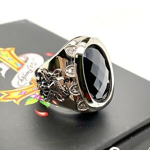 Authentic Ed Hardy Love Kills Slowly Black CZ Stainless Steel Ring Size 7 & 8