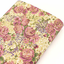 Japanese Cotton Fabric FQ Purple Violet Rose Flower Retro Gold Print Dress J159