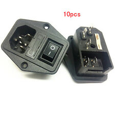10x Black Button 2 Pin Switch Fuse Holder IEC320 Inlet Power Socket AC 250V 10A