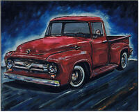 1956 Ford F100 pickup truck 8x10 oil painting modern art original signed Crowell