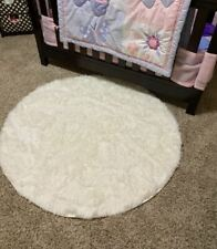 Home Kitchen Circle Rugs and Mat White Color Cotton Blend