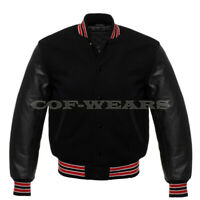 Varsity Black Letterman Baseball Wool & Genuine Leather Sleeves Jacket Red Trim