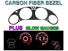 93-97 HONDA DEL SOL VTEC 140MPH CARBON FIBER BEZEL + RED GLOW GAUGE FACE OVERLAY