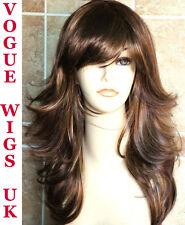 Ladies Wig Long 2 Tone Brown Blonde Fashion Wig Layered Cut Side Fringe Hair