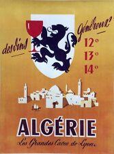 """""""VINS d'ALGERIE"""" Affiche originale entoilée litho années 50   54x70cm"""