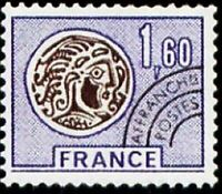 """FRANCE PREOBLITERE TIMBRE STAMP 144 """" MONNAIE GAULOISE 1F60 LILAS """" NEUF xx LUXE"""