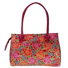 Genuine Leather Floral Multi Colored SHANTINIKETAN Shoulder Bag Purse Handbag