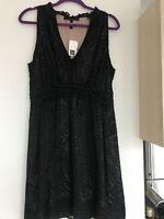 NWT BCBG Maxazria Silk Lace Illusion Print Dress L  From Saks Fifth Avenue
