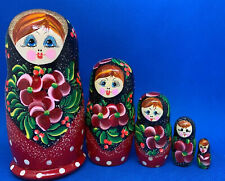 New Set Of Handmade 5 Russian Matryoshka Stacking Dolls, Largest Is 6� Tall