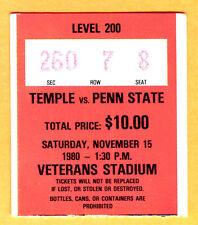 11/15/80 PENN STATE/TEMPLE FOOTBALL TICKET STUB