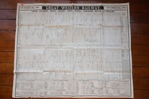 1941 GWR Railway Timetable Poster Gloucester Newport Cardiff Swansea Wales