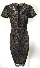 New M&S Per Una Gold Lace Dress Black Pencil Wiggle Bodycon Xmas Party RRP £50