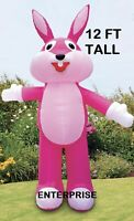 12' FT PINK EASTER BUNNY AIRBLOWN INFLATABLE LED LIGHTED YARD DECOR