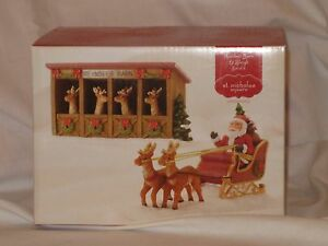 NEW St. Nicholas Square  Reindeer Barn & Sleigh with Santa (Set of 2)