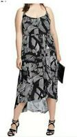 CITY CHIC FLOWING BLACK & WHITE STRAPPY MAXI DRESS SIZE S. BNWT RRP $119.95.