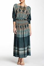 FREE PEOPLE Jade Green She's a Lady Print Boho Chic Smocked Midi Maxi Dress S M