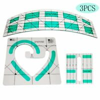 Non-slip Quilt Ruler freemo arc ruler Patchwork Quilting Template set #1set =3pc