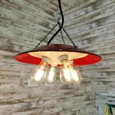 "1 Vintage 15"" Red 4-Cluster Non-Porcelain Brooder Light Industrial Pendant Lamp"