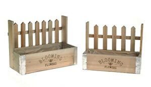 """SET of 2 Wooden Planters """"Blooming Flowers"""" Plant Flower Herb Pot Picket Fence"""
