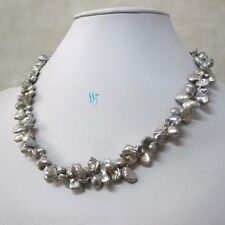 """2Row Freshwater Pearl Necklace 18"""" 6-7mm Silver Gray Keshi"""