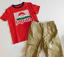 NWT Gap Boy 2 Pc Shorts Set Graphic Japan T-Shirt/Cargo Shorts S M Free Ship New