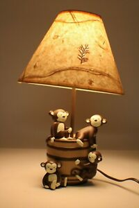 "Kidsline Monkeys and Barrel Table Lamp Creme & Brown Night Light Durable 16"""