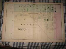Antique 1875 Lebanon City 2Nd 3Rd Ward Lebanon County Pennsylvania Handclr Map N