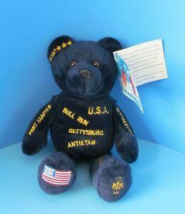 "AMERICAN HISTORY BEARS Rare Civil War Dark Blue Teddy Bear w/Hanging Tag 9"" L@@K"