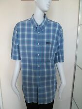 TEDDY SMITH - BLUE/BLUE CHECK SHORT SLEEVED  SHIRT SIZE L -100% COTTON