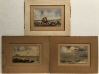 Set Of 3 19th  Century Italian Impressionist Seascapes All Signed  Illegibly