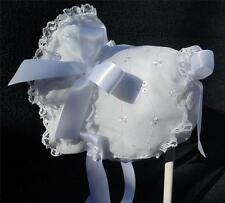 New Handmade White Cotton Eyelet with White Lace & Trim Baby Bonnet