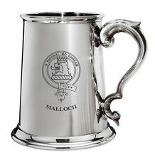Malloch Family Crest Polished Pewter 1 Pint Tankard with Scroll handle