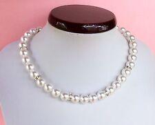 "16"" Luxury White Pearl Clear Rhinestone Wedding Necklace, Bridesmaid Necklace"