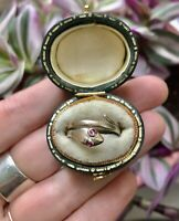 Beautiful Antique Snake Ring 9ct Gold Ruby Eye M 6 Memento Mori Posy Victorian