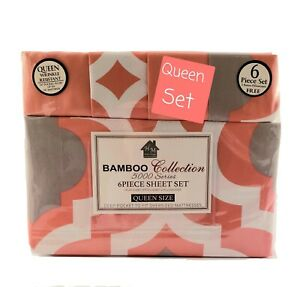 Bamboo Collection 5000 Series Queen Size Sheet Set . Geometrical Pattern