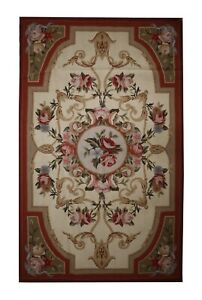Wool Needlepoint Rug Traditional Floral Tapestry Rug Handmade French 91x152cm