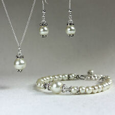 Vintage cream pearl crystal necklace bracelet earrings wedding bridal silver set