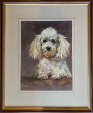 Original Framed Pastel Drawing Artwork of a Poodle Dog