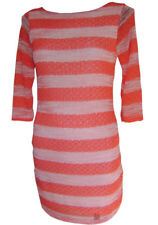 """""""NEW"""" TRANSAT BOUTIQUE ROBE """"S3SS"""" SEQUINS RAYURES CORAIL TAILLE L = 40/42"""