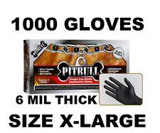 PITBULL Black Nitrile Gloves, 6 mil, Powder Free, Case of 1000 Size XL X-LARGE