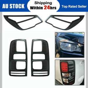 For Holden Colorado RG MK1 Tail Rear Light Lamp Cover Matte Black Pair 2012-2015
