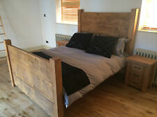 """NEW CHUNKY RUSTIC DOUBLE """"DADDY"""" PLANK BED SOLID WOOD  *BESPOKE AVAILABLE*"""