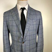 New Eidos by Isaia Napoli Balthazar Sportcoat 40R Blue Silk Wool Was $995
