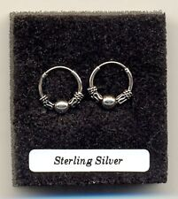 Small Indo Ball 12mm Hoops Sterling Silver 925 Earrings Pair