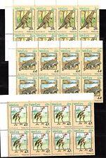 Laos. Conjunto de 8 series completas y HB de Dinosaurios